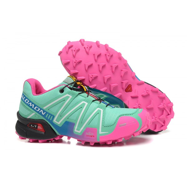 Salomon Speedcross 3 CS Trail Running Shoes Blue Green Pink For Women