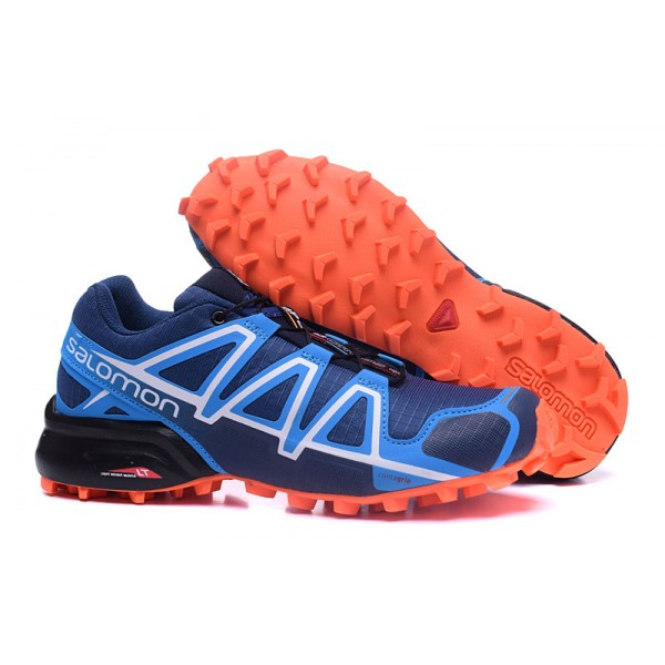 Salomon Speedcross 4 Trail Running Shoes Blue Orange For Men