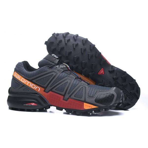 Salomon Speedcross 4 Trail Running Shoes Deep Gray Red For Men