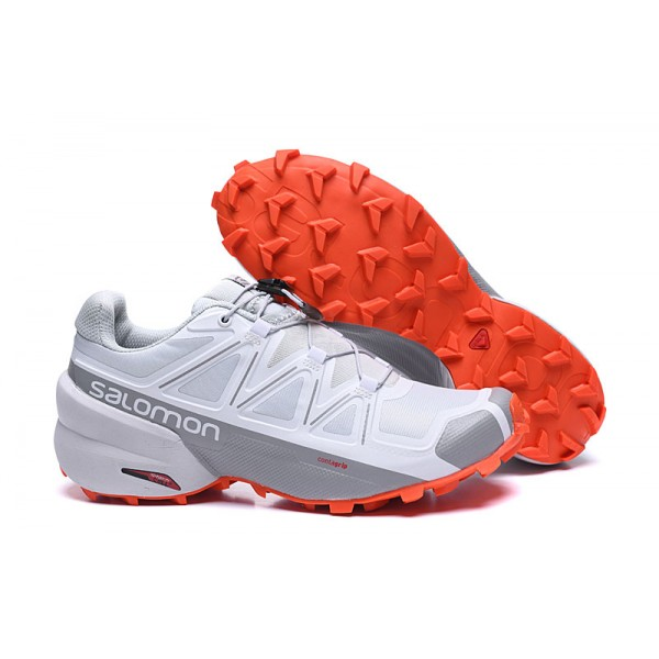 Salomon Speedcross 5 GTX Trail Running Shoes White Grey,Salomon Online Shop Clothes